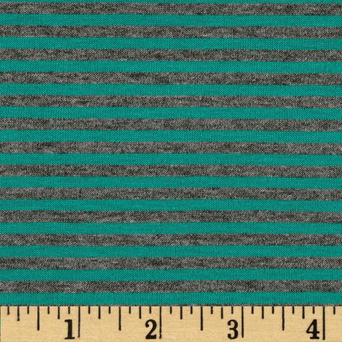 Designer Stretch Rayon Jersey Knit Mini Stripes Teal