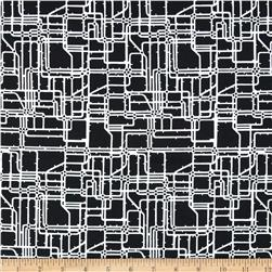 Rush Hour Commuter Maps Black Fabric