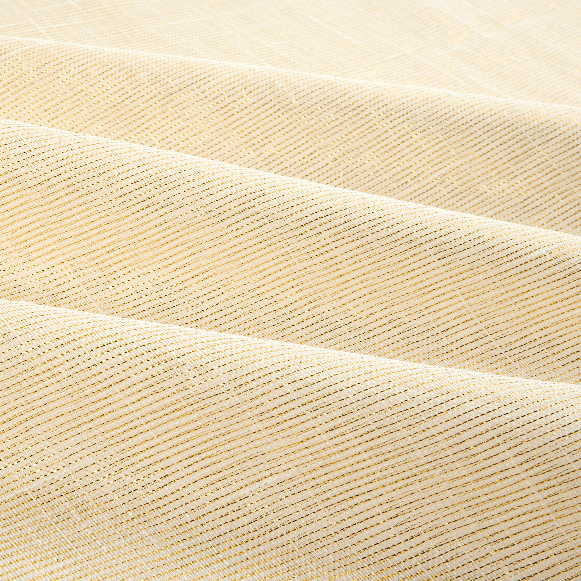 Image of 110'' Faux Linen Sheer Metallic Ivory/Gold Fabric