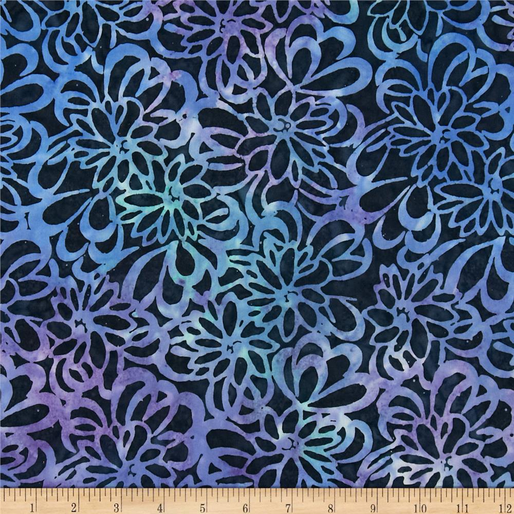 Timeless Treasures Tonga Batik Reef Floral Navy