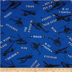 Flyboy Tossed Aircrafts Royal Fabric