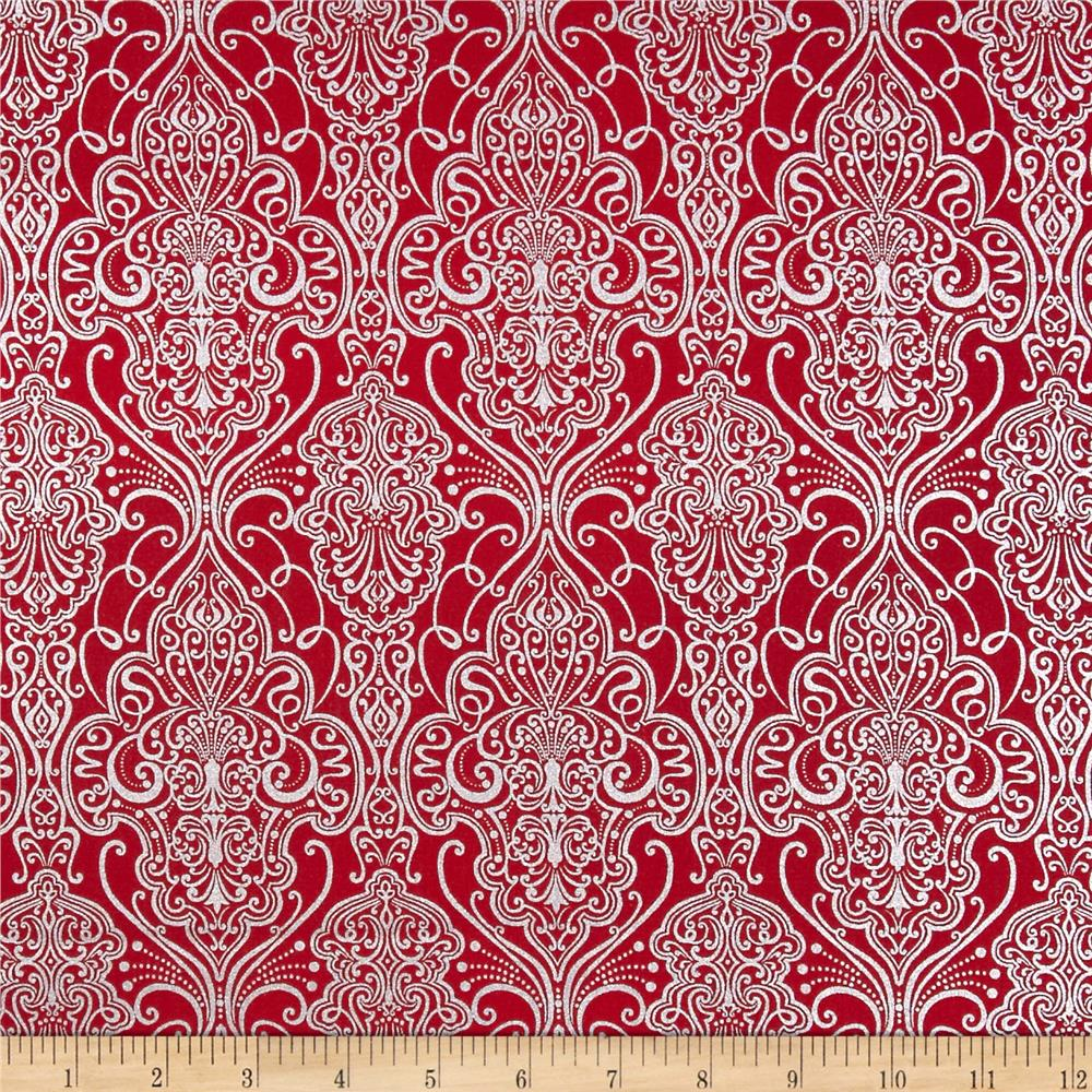 Pearle Silver Opalescent Damask Red