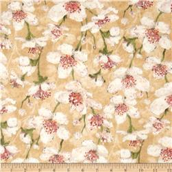 Velvet Blossoms Flannel Medium Floral Cream