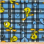 Fleece Looney Tunes Tweety Plaid Blue