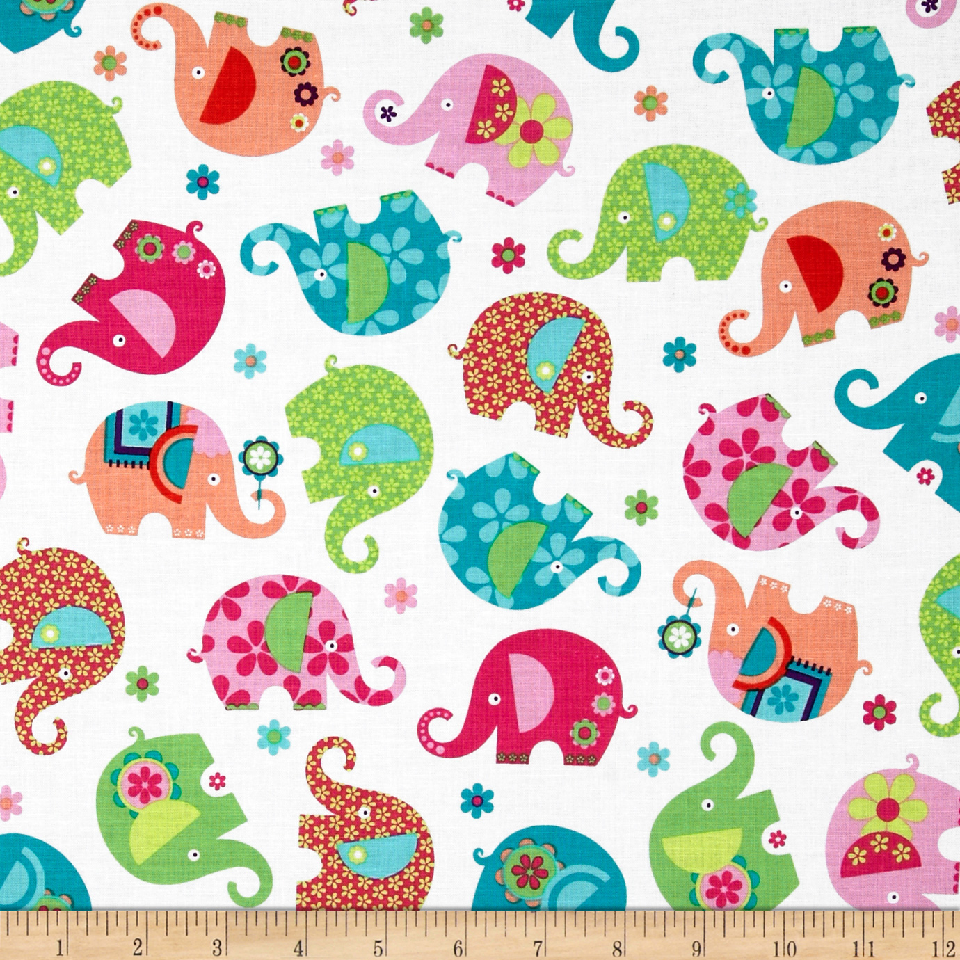 Michael Miller Happy Town Elephant Romp Pink Fabric