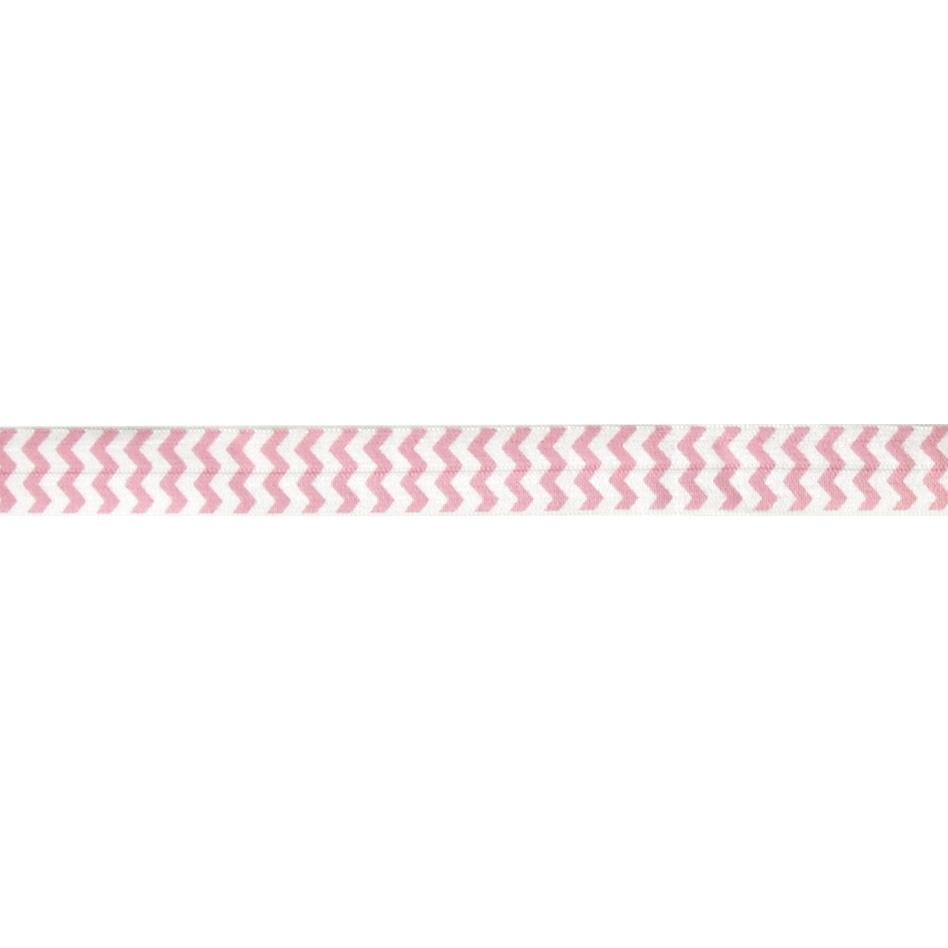 "5/8"" Fold Over Elastic Chevron Pink"