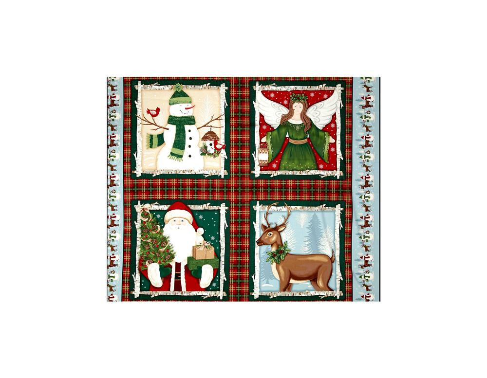 A Christmas To Remember Four Block 36 In. Panel Red Fabric By The Yard