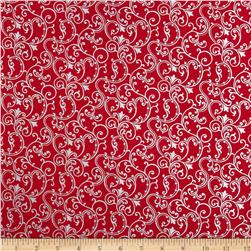 Pearle Silver Opalescent Scroll Red