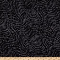 Stretch ITY Knit Dotted Waves Black/Grey