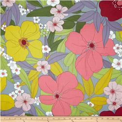 Tropix Paola Large Flower Grey/Pink Fabric