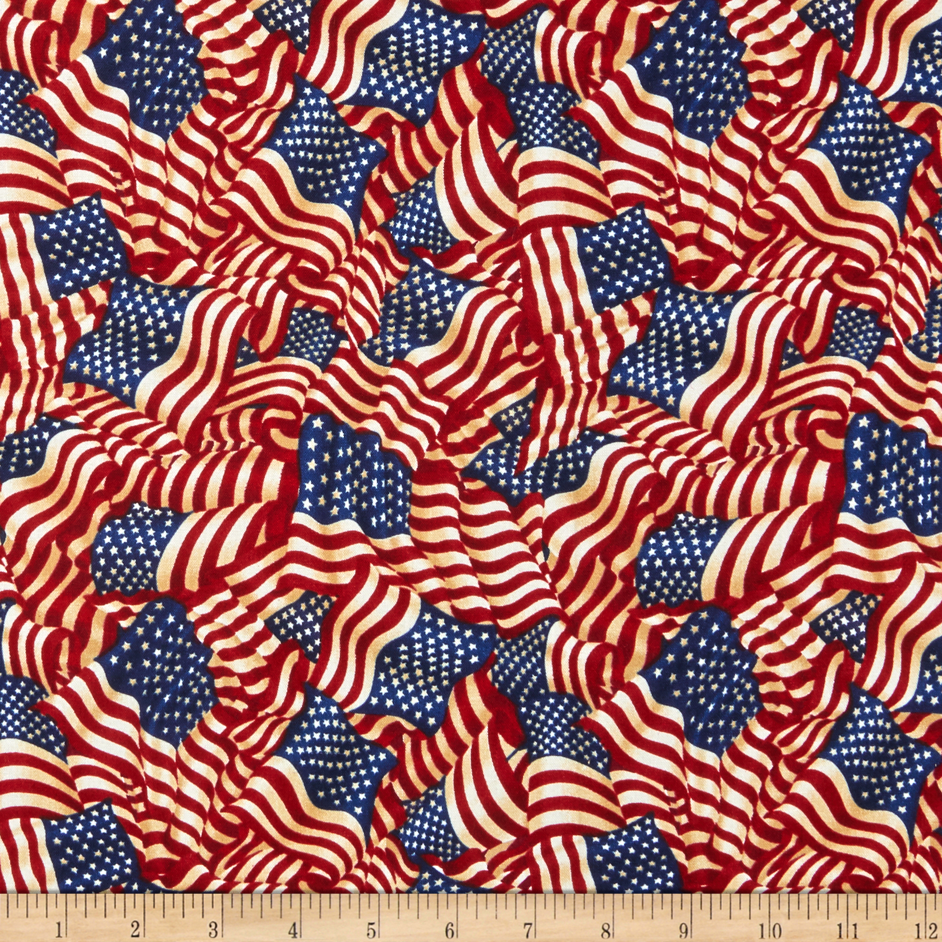 Image of American Pride Wavy Flag Antique Fabric