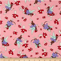 Moda Monkey Tales Fairy Cute Pink Fabric