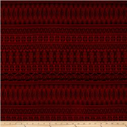Poly Challis Aztec Print Red/Black