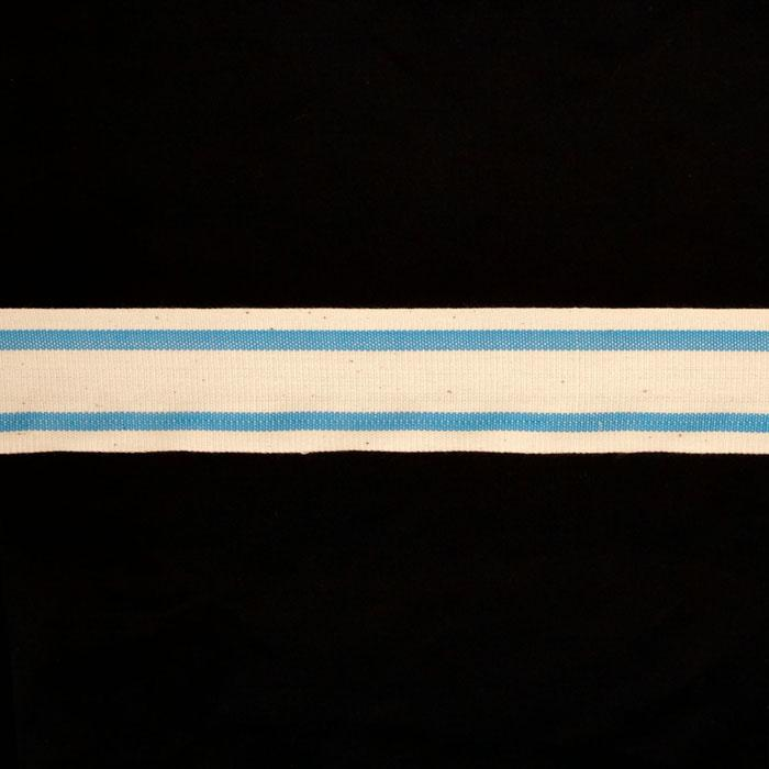 "1 1/2"" Woven Ribbon Stripes Sky Blue"