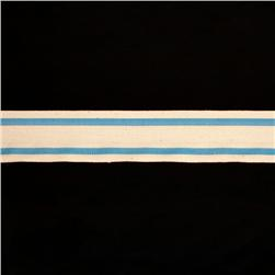 1 1/2'' Woven Ribbon Stripes Sky Blue