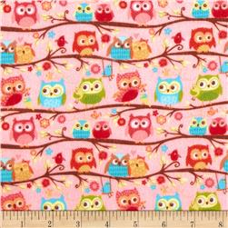 Riley Blake Happy Flappers Flannel Owls Pink Fabric