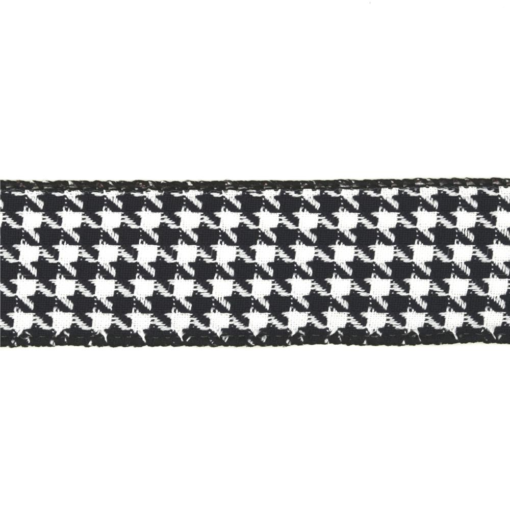 "1 1/2"" Houndstooth Nylon Edge Ribbon Black"