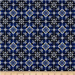 Telio Bloom Stretch Cotton Sateen Mosaic Print Blue
