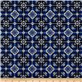 Bloom Stretch Cotton Sateen Mosaic Print Blue