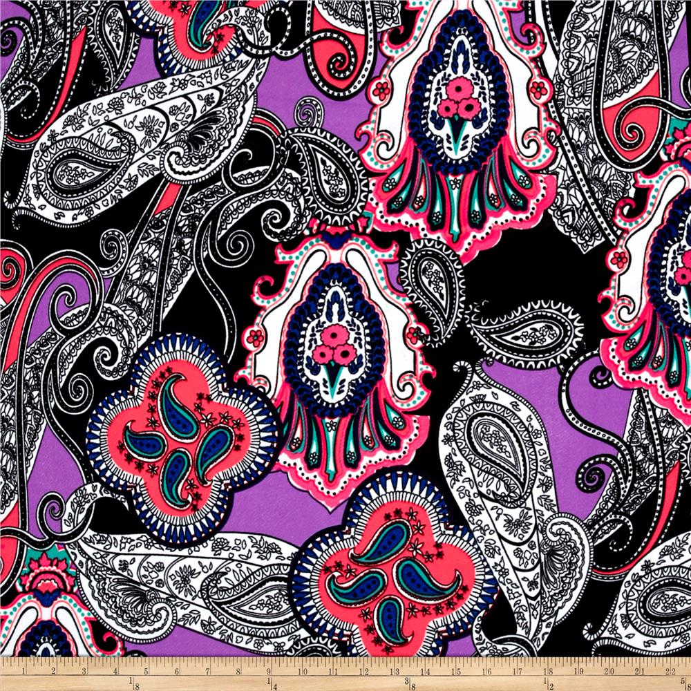 Liverpool Double Knit Print Paisley Lilac/Pink/ Black/ Royal