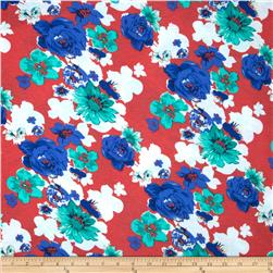 Soft Jersey Knit Floral Blue/Red/Jade
