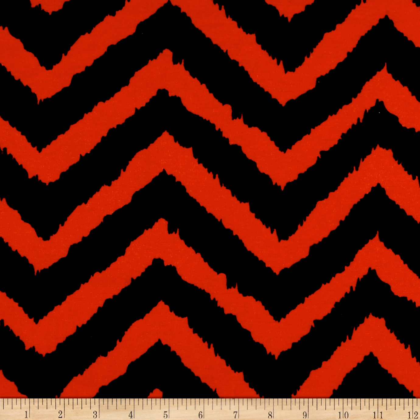 Ponte De Roma Knit Jagged Zig Zag Rust/black Fabric