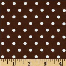 Aunt Polly's Flannel Small Polka Dots Brown/White