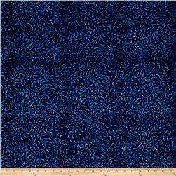 Batavian Batiks Curling Leaves Dark Blue