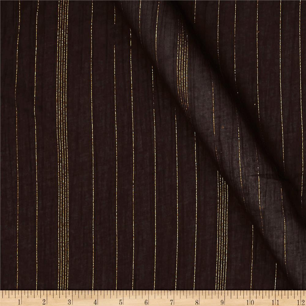 Cotton Gauze Sparkle Stripe Brown/Gold