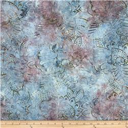 Batavian Batiks Fronds Blue/Raspberry