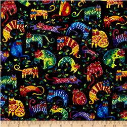 Laurel Burch Enchantment Cats & Holly Black