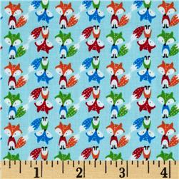 Timeless Treasures Mini Foxes Blue