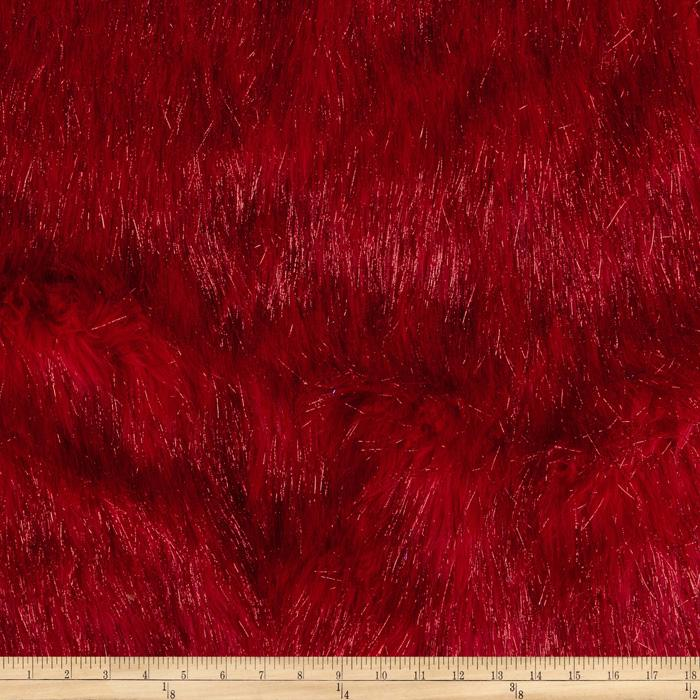 Faux Fur Electric Shag Fire Red Discount Designer Fabric