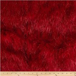 Faux Fur Electric Shag Fire Red Fabric