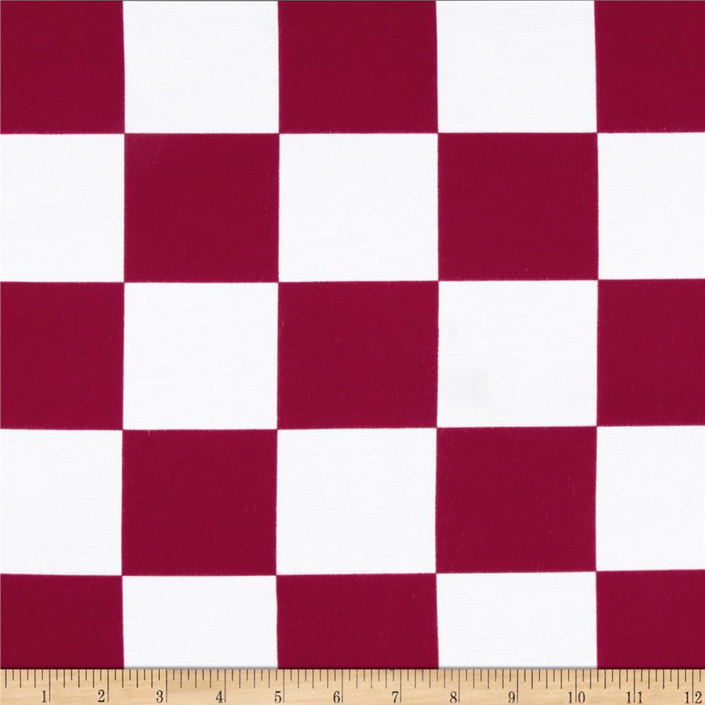 Spun Poly Double Knit Checks Maroon/White