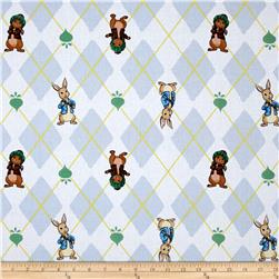 Rabbits and Raddishes Argyle Bunnies White/Multi