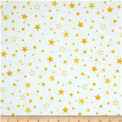 Robert Kaufman Cozy Cotton Flannel Stars Yellow Fabric