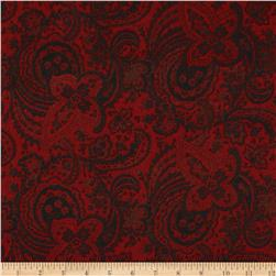 Bonsoir Flannel Large Floral Tonal Red
