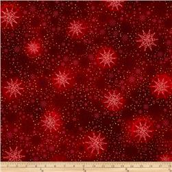 Robert Kaufman Radiant Holiday Metallic Snowflakes Crimson