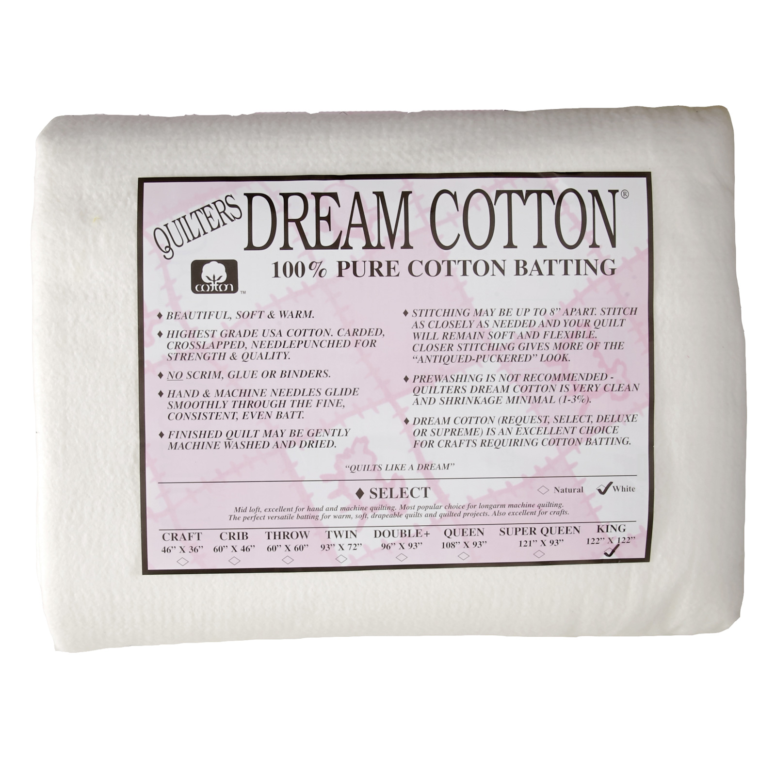 Quilter's Dream Natural Cotton White Select Batting (122'' x 122'') King by Quilter's Dream in USA