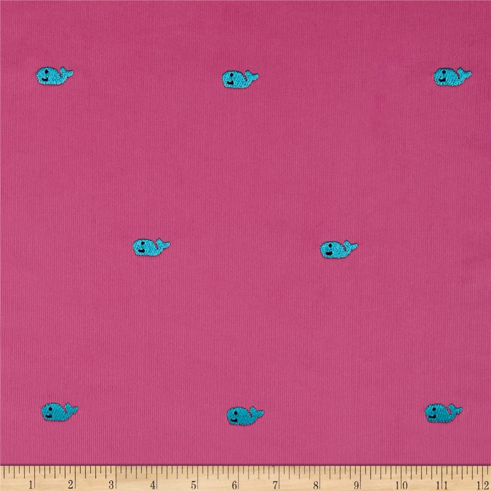 Embroidered 21 wale corduroy whale hot pink turquoise for Kids corduroy fabric
