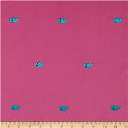 Embroidered 21 Wale Corduroy Whale Hot Pink/Turquoise