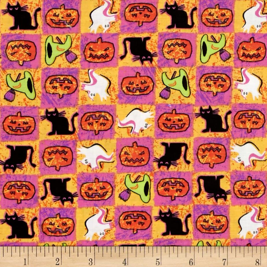 Spooktacular Halloween Patch Pink Yellow Fabric By The Yard