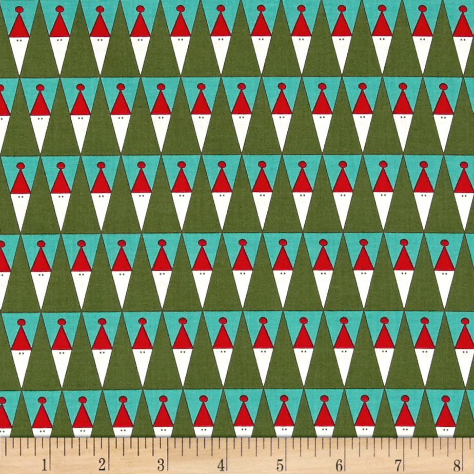 Image of Moda Eat Drink & Be Ugly Peeking Santas Frozen Pond/Evergreen Fabric