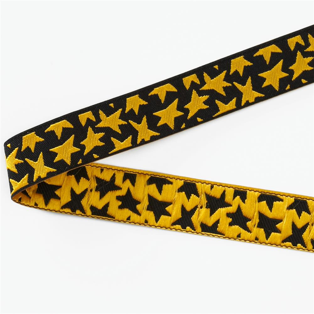"5/8"" Luella Doss Gold Stars On Black Ribbon"