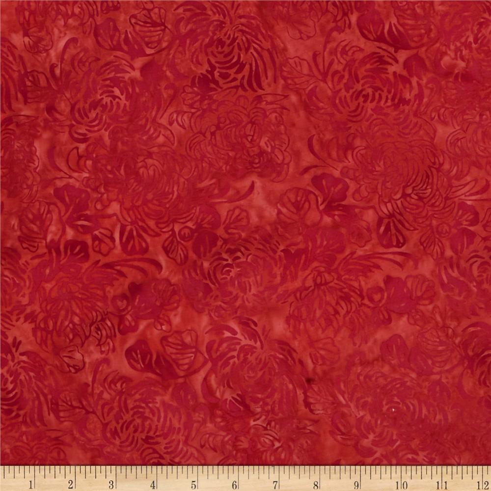 Island Batik No Particular Place to Go Floral Red