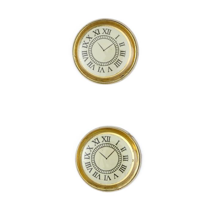 Metalized Button 3/4'' Clock Gold/White