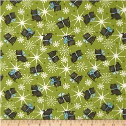 Sweetie Pie Snowmen Scottie Dog Toss Green Fabric