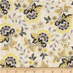 Moonlight Peacock Metallic Floral Cream/Gold