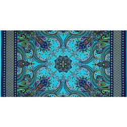 Timeless Treasures Mystique Metallic Paisley Panel Turquoise